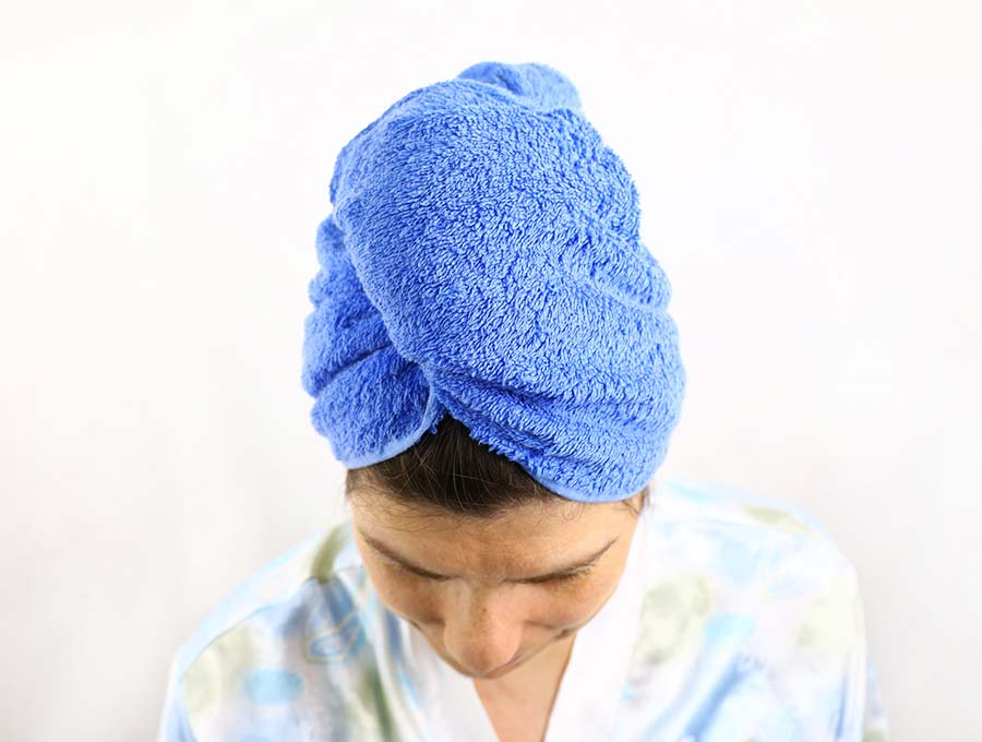 how to make a towel turban - finished head wrap view from above