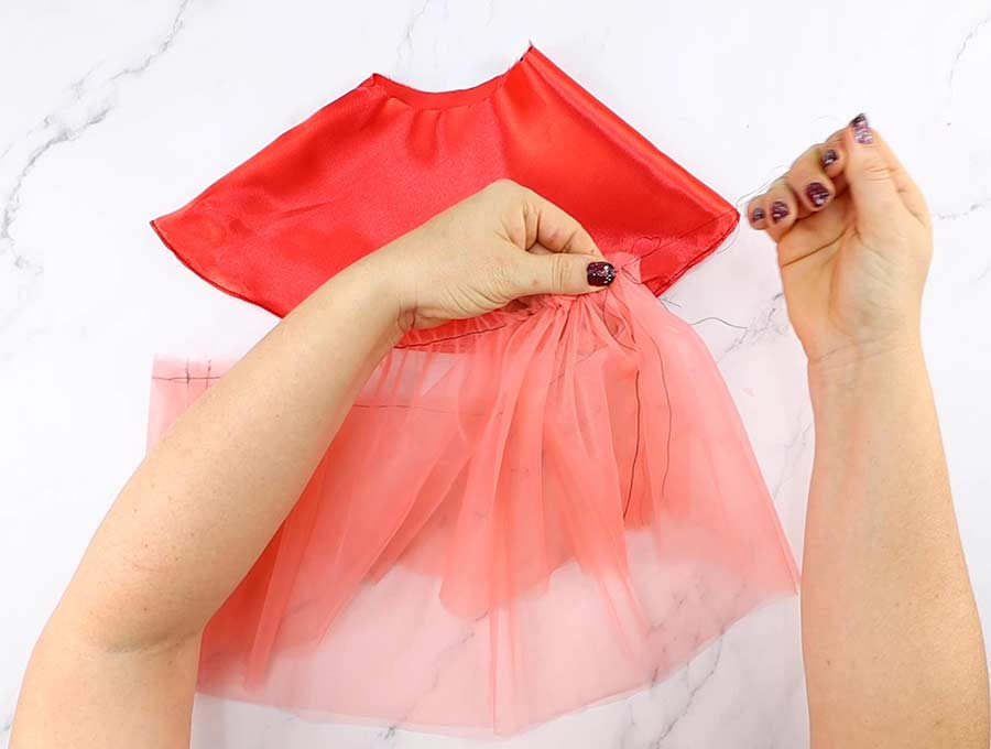 making of the tulle skirt - gathering the tulle
