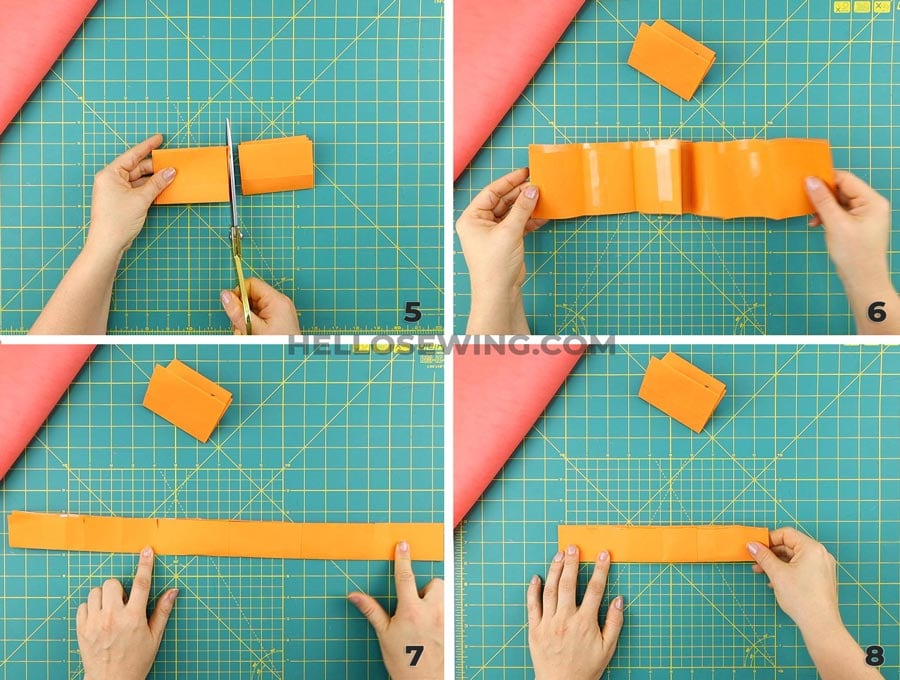 cutting the tutu strips - collage of step by step process
