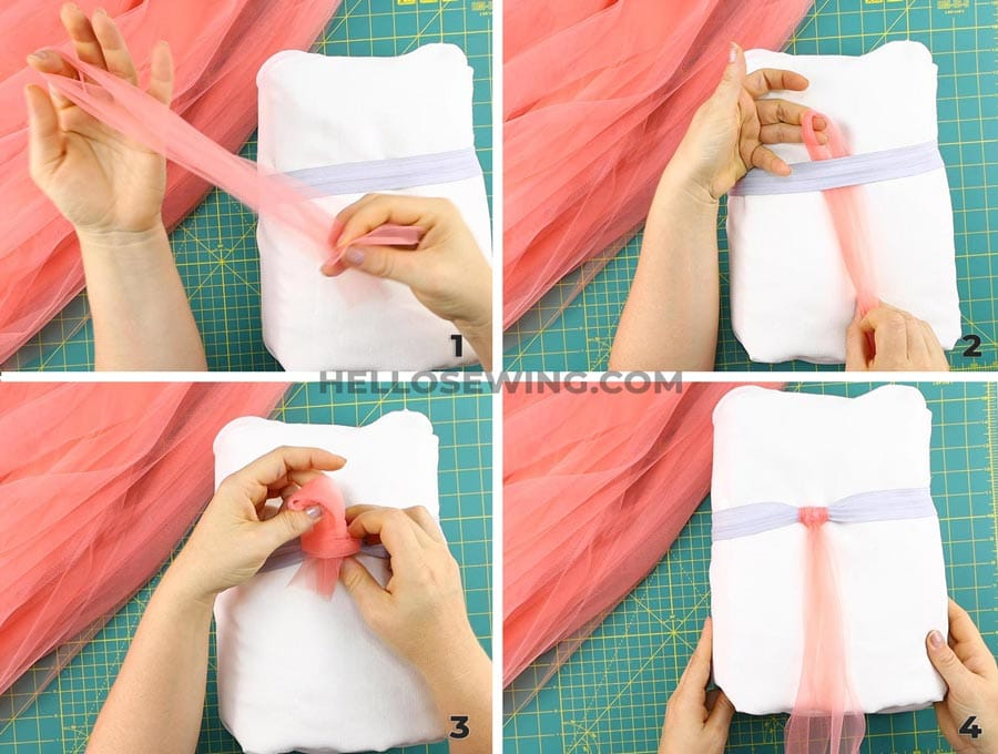 knotting the tutu skirt - collage of step by step process