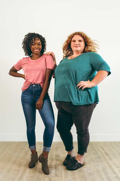 womens shirt pattern modeled by two ladies